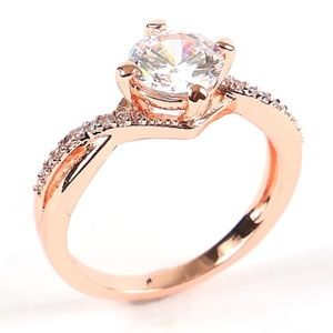 New Rose Gold Size 6 Rhinestone Ring